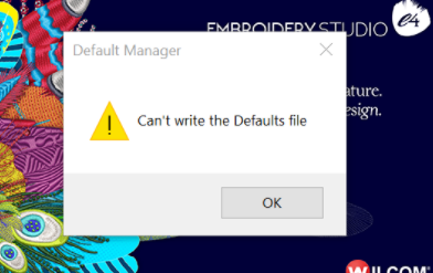 Wilcom Can't Write Defaults file